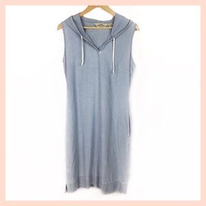 EDDIE BAUER chambray hooded dress size 10